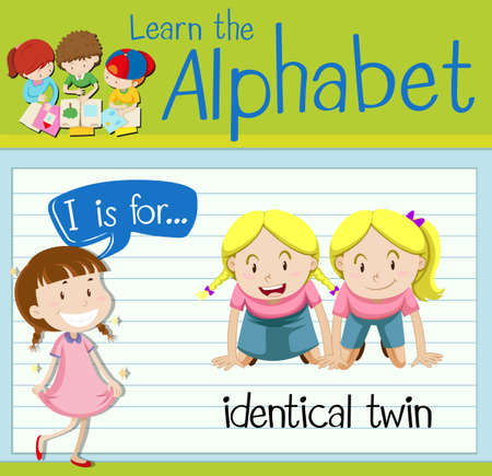 twin sister: Flashcard letter I is for identical twin illustration