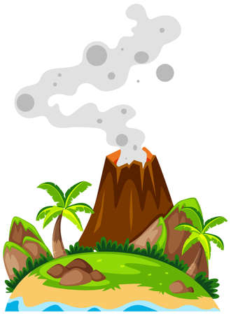 Volcano on the island illustration