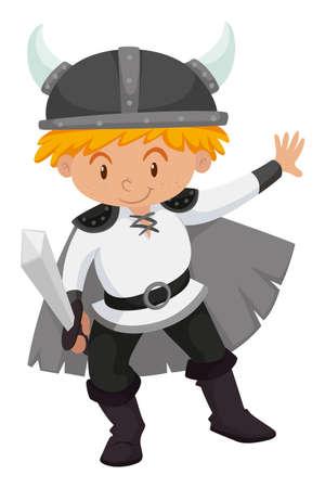 Little boy dressed up as viking  illustration