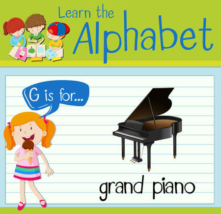 grand kid: Flashcard letter G is for grand piano illustration Illustration