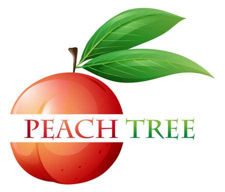 Font design for peach tree illustration