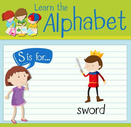 king s: Flashcard letter S is for sword illustration