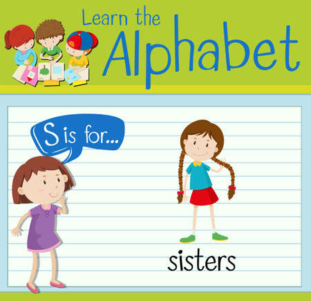 sisters: Flashcard letter S is for sisters illustration