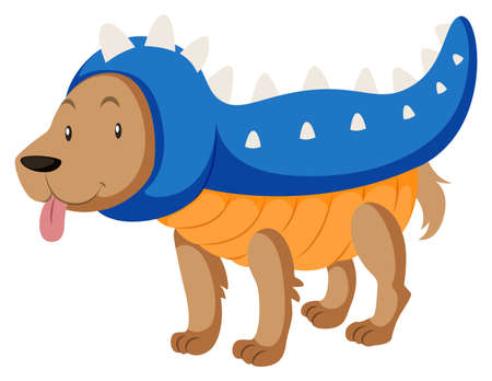 little dog: Little dog dressed up as dinosaur illustration Illustration
