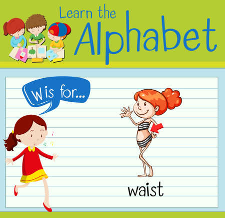 waist: Flashcard letter W is for waist illustration
