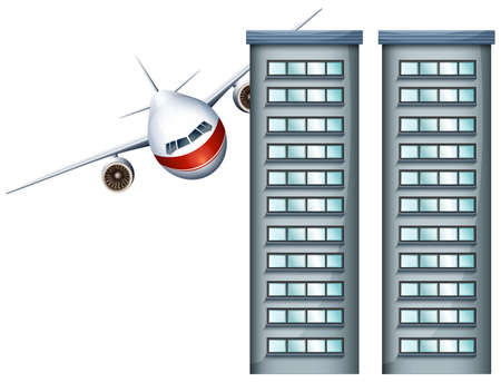 jet airplane: Airplane flying through two buildings illustration Illustration