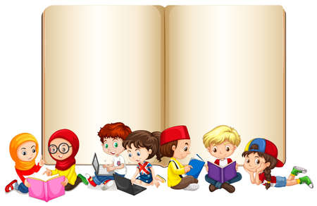 children book: Blank book with children working and reading illustration Illustration