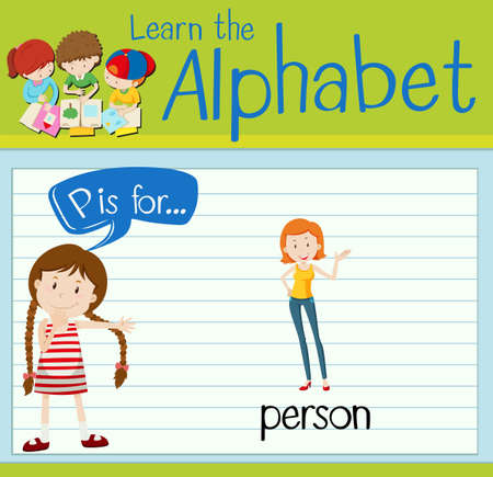 p illustration: Flashcard letter P is for person illustration