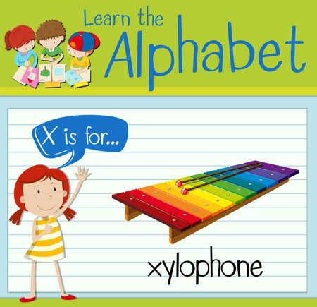 xilofono: Grupos de tarjetas letra X está para el ejemplo xilófono