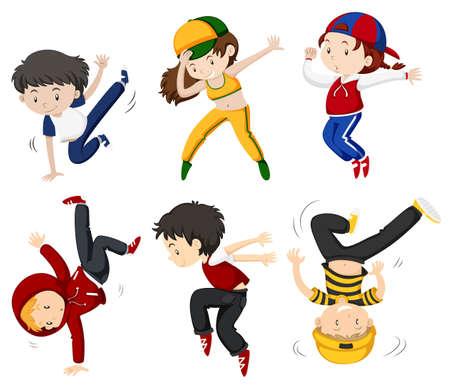 Jungen und Mädchen tanzen Illustration Standard-Bild - 66601663