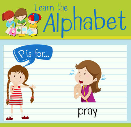 pray: Flashcard letter P is for pray illustration