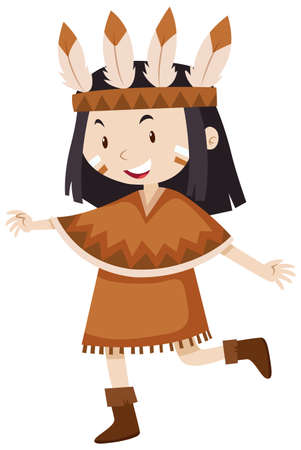 indian teenager: Little girl in native indian costume illustration