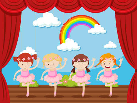 stage: Four girls dancing on stage illustration