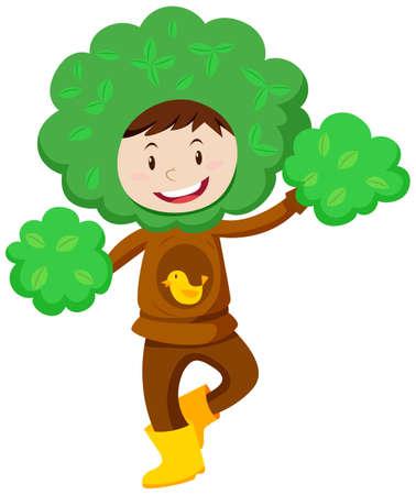 Kid in boom kostuum illustratie