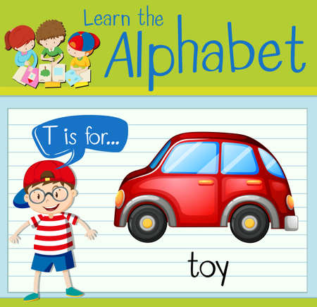Flashcard letter T is for toy illustration
