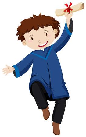 Man in blue graducation gown  illustration