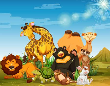 Many wild animals in the field illustration Illustration