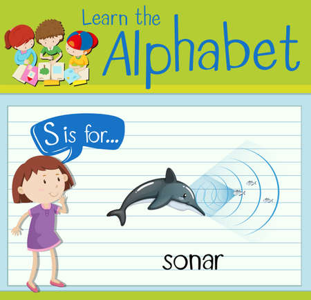 sonar: Flashcard letter S is for sonar illustration