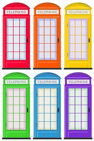telephone booth: Telephone booths in six colors illustration
