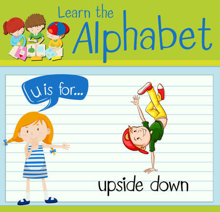 upside: Flashcard letter U is for upside down illustration Illustration