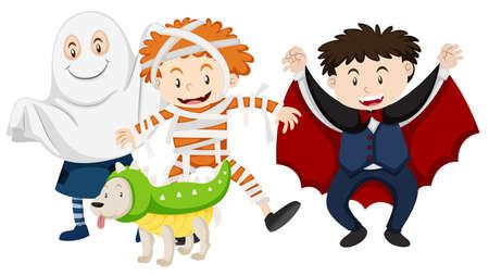 Kids dressed up for halloween illustration Stock Illustratie