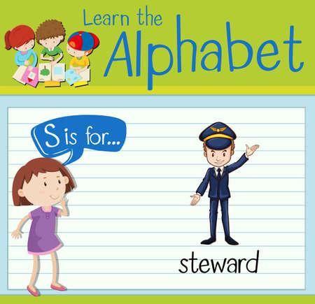 steward: Flashcard letter S is for steward illustration