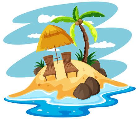 playas tropicales: Los asientos en la ilustración isla privada