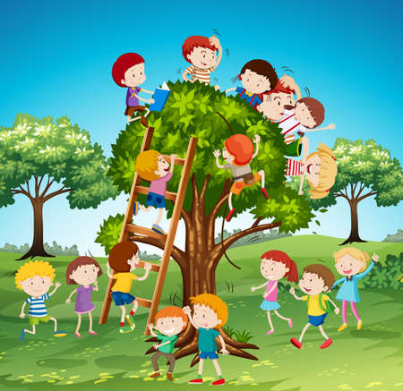 climbing ladder: Many children climbing up the tree illustration