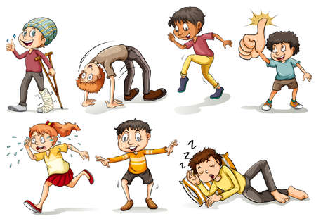 People doing different actions set illustration Illustration