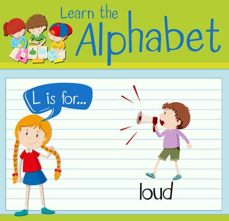l boy: Flashcard letter L is for loud illustration Illustration