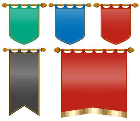 Drapeaux médiévaux dans une illustration de couleurs différentes