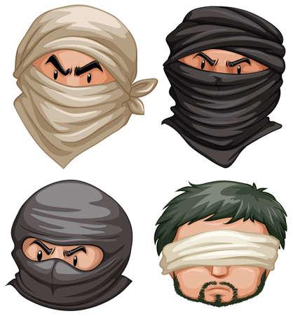 terrorists: Terrorists and victims on white background illustration Illustration