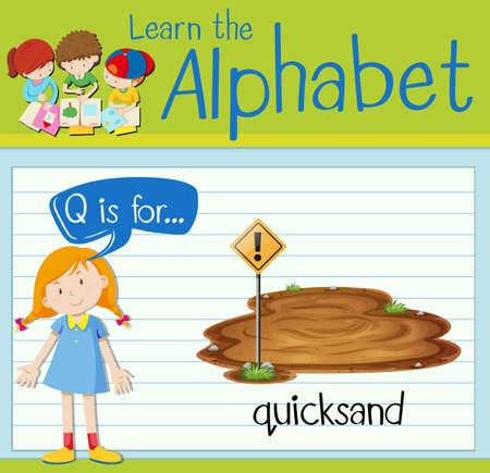 dangerous: Flashcard letter Q is for quicksand illustration Illustration