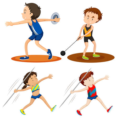 throwing: People doing track and field sports illustration