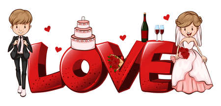 bride: Word design for love with wedding couples illustration