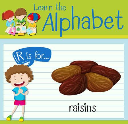 prune: Flashcard letter R is for raisins illustration
