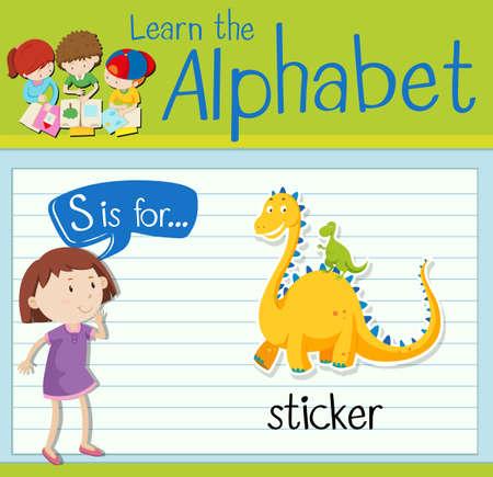 Flashcard letter S is voor sticker illustratie