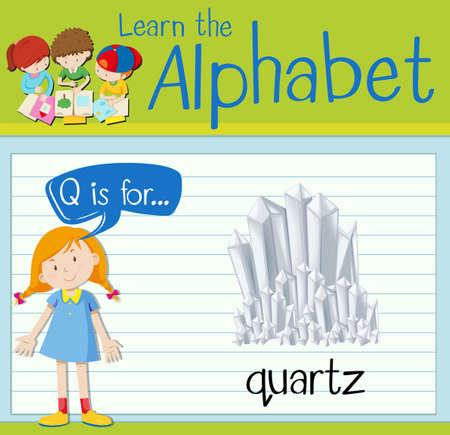 quartz: Flashcard letter Q is for quartz illustration