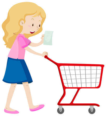 woman shopping cart: Woman read shopping list and pushing cart illustration