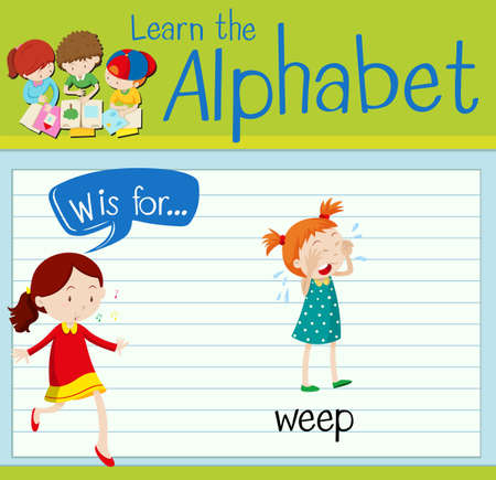 weep: Flashcard letter W is for weep illustration Illustration