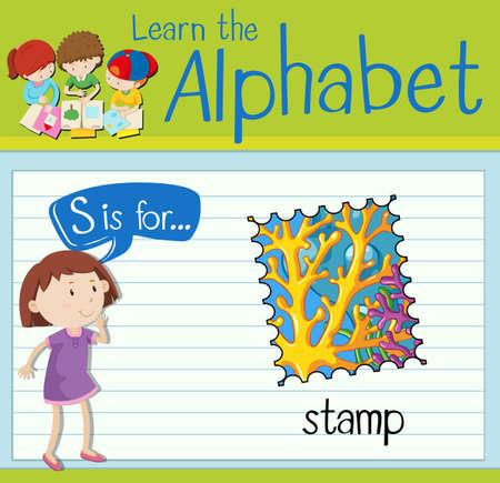 kid s illustration: Flashcard letter S is for stamp illustration Illustration