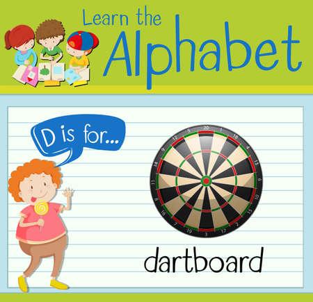 dartboard: Flashcard letter D is for dartboard illustration
