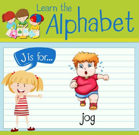 jog: Flashcard letter J is for jog illustration