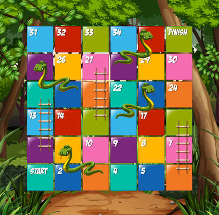 snakes and ladders: Board game snake and ladder  illustration
