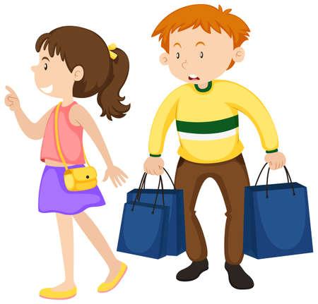 El hombre y la mujer de compras ilustración