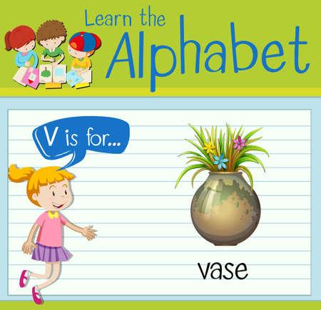 Flashcard Letter V Is For Vase Illustration Royalty Free Cliparts