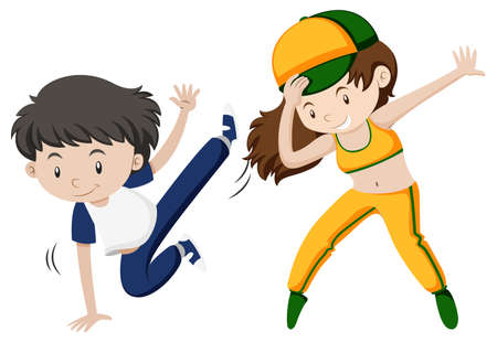 Man and woman doing hiphop dance illustration