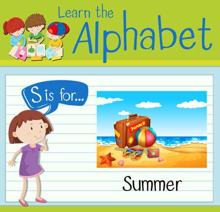 kid s illustration: Flashcard letter S is for Summer illustration Illustration