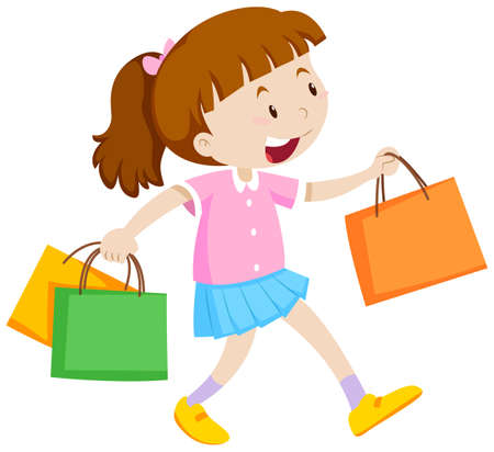 adolescent girl: Little girl with three shopping bags illustration Illustration