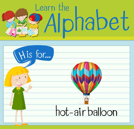 kids background: Flashcard letter H is for hot-air balloon illustration